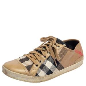 Burberry Beige Nova Check Canvas and Leather Cap Toe Sneakers Size 39