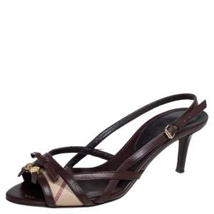 Burberry Dark Brown Leather and Haymarket Coated Canvas Rowan Sandals Size 37