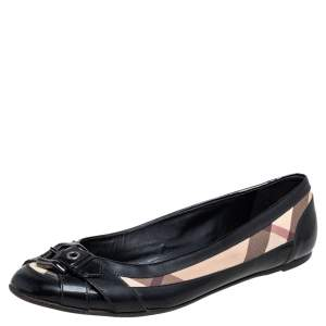 Burberry Black and Nova Chek Coated Canvas and Patent Leather Flats Size 40
