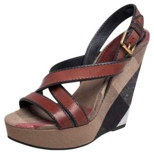 Burberry Brown Leather and Nova Check Canvas Warlow Platform Wedge Sandals Size 39