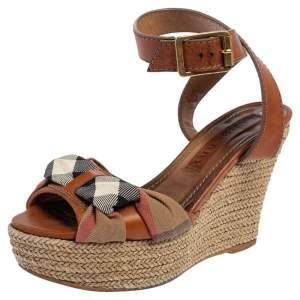Burberry Brown Leather And Canvas Espadrille Ankle Wrap Wedge Platform Sandals Size 36.5