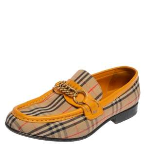 Burberry Yellow Leather and Haymarket Check Canvas Moorley Runway Loafers Size 38