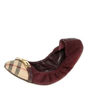 Burberry Burgundy Suede and Novacheck Twistlock Drayton Ballet Flats Size 41