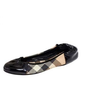 Burberry Black Patent Leather And Nova Check Coated Canvas Scrunch Ballet Flats Size 36