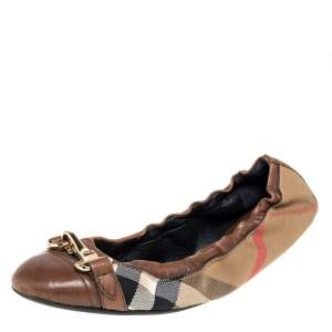 Burberry Brown House Check Canvas And Leather Shipley Ballet Flats Size 40