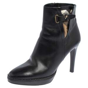 Burberry Black Leather Lysterfield Ankle Boots Size 40