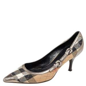 Burberry Beige/Grey Nova Check Canvas And Leather Buckle Detail Pointed Toe Pumps Size 39