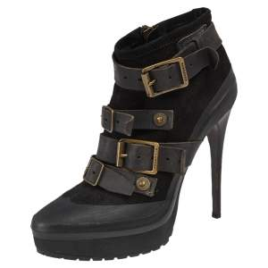 Burberry Black Leather and Suede Buckle Detail Ankle Boots Size 38