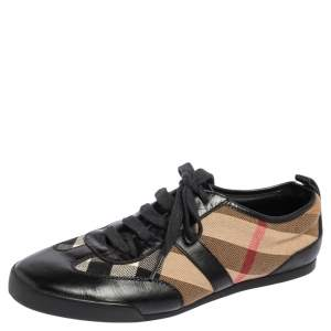 Burberry Black Leather And Nova Check Canvas Lace Up Sneakers Size 36
