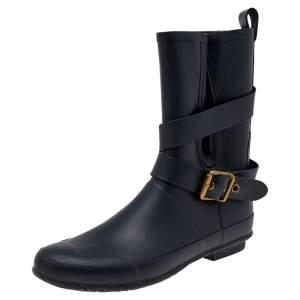 Burberry Black Rubber Buckle Detail Rain Boots Size 38