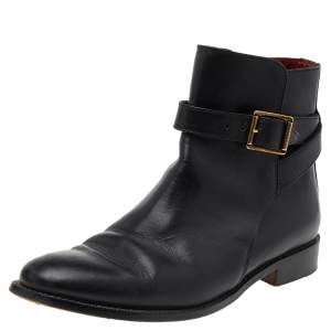 Burberry Black Leather Buckle Ankle Boots Size 38