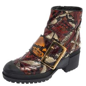 Burberry Multicolor Python Embossed Leather Buckle Detail Combat Boots Size 38
