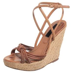 Burberry Tan Strappy Leather Woven Wedge Espadrille Sandals Size 39