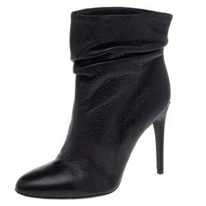Burberry Black Leather Ankle Length Boots Size 36.5