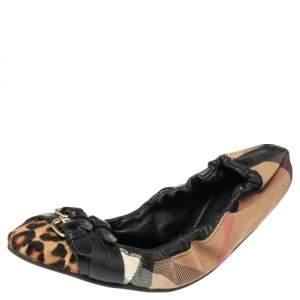 Burberry Black Novacheck Canvas and Leather Buckle Scrunch Ballet Flats Size 36