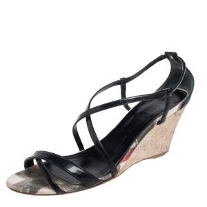 Burberry Black Patent Leather Criss Cross Open Toe Cork Wedge Sandals Size 38