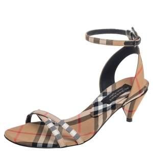 Burberry Beige Novacheck Fabric Hansel Cross Strap Cone Heel Sandals Size 35