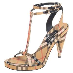 Burberry Beige House Check Fabric  Ankle Strap Crisscross  Sandals Size 37
