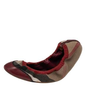 Burberry Red Leather And Nova Check Canvas Scrunch Ballet Flats Size 39