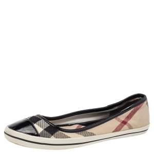 Burberry Multicolor Nova Check Canvas And Patent Leather Cap Toe Ballet Flats Size 39