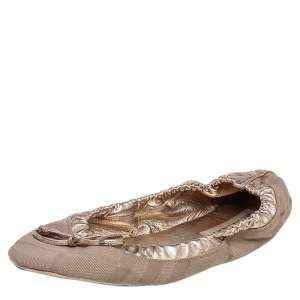 Burberry Beige/Metallic Gold Leather And Check Canvas Bow Smoking Slippers Size 40