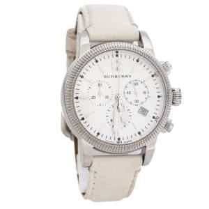 ساعة يد للجنسين بربري Utilitarian BU7821 جلد ستانلس ستيل بيضاء 42 مم