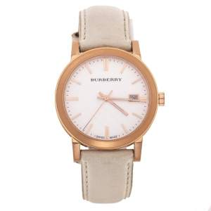 Burberry Silver White Rose Gold Plated Stainless Steel Leather The City BU9012 Women's Wristwatch 38 mm