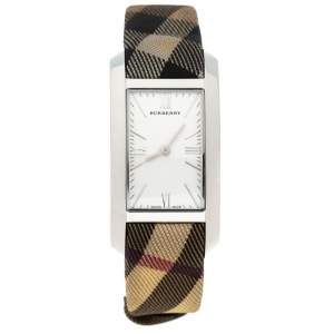 Burberry Silver Stainless Steel Check BU1076 Women's Wristwatch 25 MM