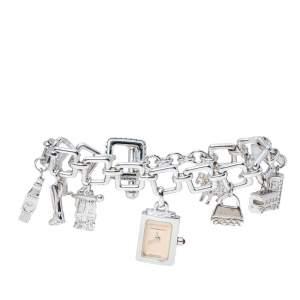 Burberry Beige Sterling Silver Bracelet Charm BU5200 Women's Wristwatch 14 mm