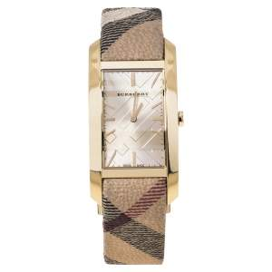 Burberry Beige Gold Plated Stainless Steel Canvas BU9407 Women's Wristwatch 25 mm