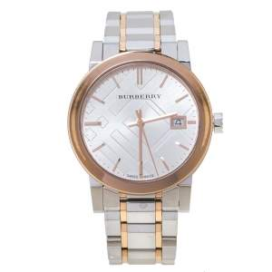 Burberry Silver Two-Tone Stainless Steel BU9105 Women's Wristwatch 34 mm