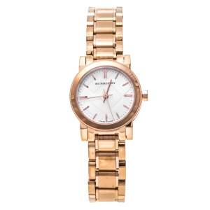 Burberry Silver Rose Gold Tone Stainless Steel BU9204 Women's Wristwatch 26.50 mm