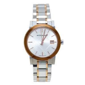 Burberry Silver White Two Tone Stainless Steel BU9105 Women's Wristwatch 34 mm