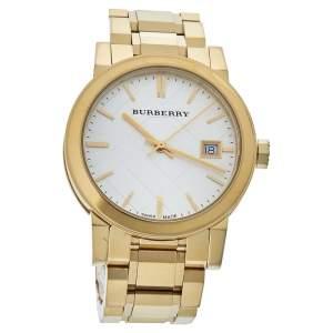 """ساعة يد نسائية بربري """"بي يو9103"""" ستانلس ستيل ذهبي اللون فضية 34 مم"""