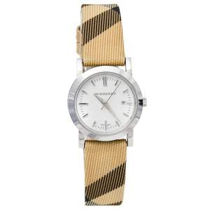 Burberry White Stainless Steel Nova Check BU1387 Women's Wristwatch 28 mm