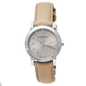 ساعة يد نسائية بربري بي يو9107 جلد مينا كاروهات ستانلس ستيل بيج 34 مم