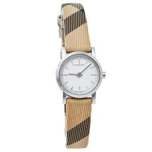 Burberry White Stainless Steel Canvas & Leather Nova Check BU1759 Women's Wristwatch 22 mm