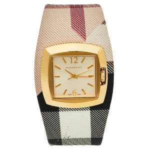 Burberry Gold Tone Stainless Steel Check Leather BU4051 Women's Wristwatch 33.5 mm