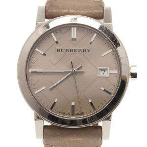 Burberry Cream Stainless Steel Heymarket Women's Wristwatch 38MM