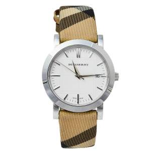 Burberry White Novacheck Canvas Leather Stainless Steel The City BU1390 Women's Wristwatch 32 mm