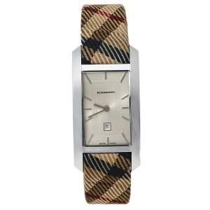 Burberry Silver Stainless Steel Nova Check Heritage BU1050 Women's Wristwatch 25 mm
