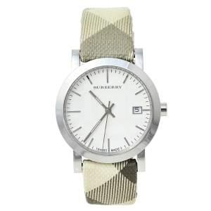 ساعة يد نسائية بربري BU1798 مربعات سموكد ستانلس ستيل بيضاء 38 مم