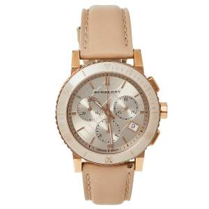 Burberry Beige Rose Gold Plated Stainless Steel Leather BU9704 Unisex Wristwatch 38 mm