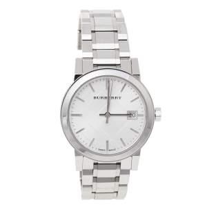 Burberry Silver Stainless Steel Check BU9100 Women's Wristwatch 34 mm