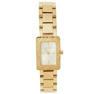 Burberry Gold Plated Stainless Steel Check BU1171 Women's Wristwatch 19 mm