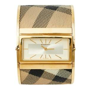 Burberry Gold Plated Stainless Steel Canvas Reversible Check BU4934 Women's Wristwatch 36 mm x 19 mm