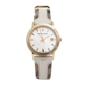 Burberry Champagne Gold Plated Stainless Steel Leather BU9015 Women's Wristwatch 38 mm