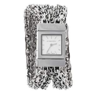 ساعة يد نسائية بربري BU5600 ستانلس ستيل فضية 20 مم