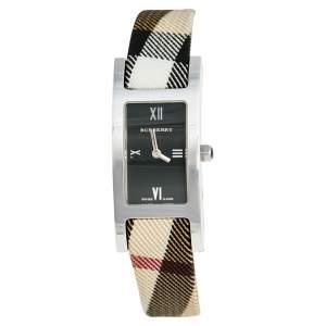 ساعة يد نسائية بربري هيريتيج نوفا BU1009 جلد عجل ستانلس ستيل سوداء 18 مم