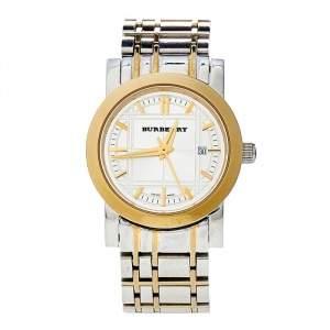 ساعة يد نسائية بربري هيريتدج BU1359 ستانلس ستيل ثنائي اللون فضية 28 مم
